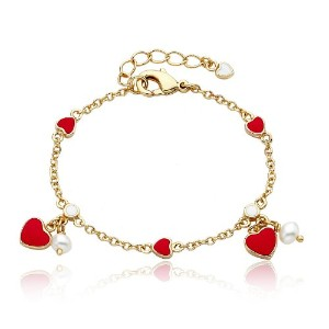 Little Miss Twin Stars I Love My Jewels 14K金メッキピンクHearts & Fresh Water Pearlsチェーンブレスレット。/