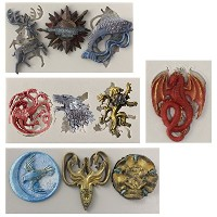 Funshowcase Game Thrones GOT Inspired House Sigils and MottosシリコンMolds for Sugarcraft、フォンダンケーキ装飾...