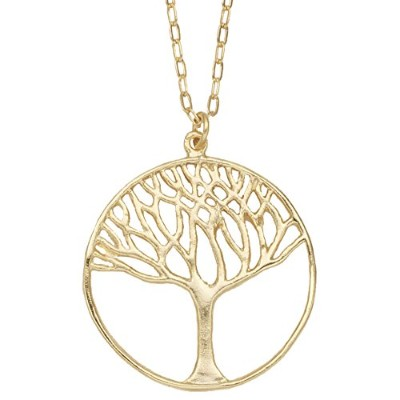 Tree of Life円ペンダントネックレス( 24K金メッキ, Large ) by Mercedes Shaffer