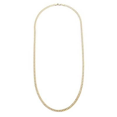 18K Gold overスターリングシルバーフラット縁石チェーンネックレス24インチ、Made in Italy