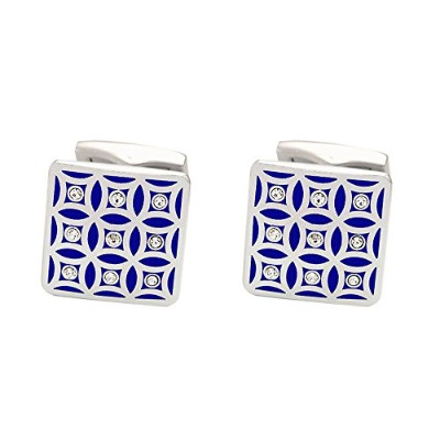 メンズカフスP.D.Man England Repeating Blue Pattern Cufflinks with Crystals[並行輸入品]