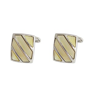 メンズカフスP.D.Man England Rectangular 3 Bar Mother of Pearl Rhodium Cufflink SP034CL-Amber[並行輸入品]