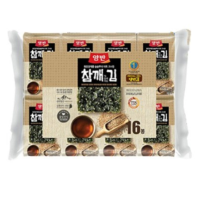 韓国のゴマのり 海苔/Korean Food Roasted Laver(nori) with Sesami Seeds/Dongwon Yangban (16Packs) [並行輸入品]