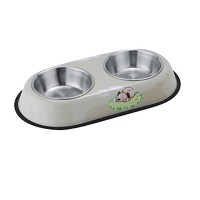 Sulida OHF Stainless Steel Food Water Bowls Two Bowls Set for Small Dog Puppy Cat (Beige, L) size L...