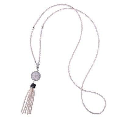 KELITCHロングクリスタルビーズネックレスwith Pave Crystal Capped tassel-delicateクリスタルタッセルネックレス