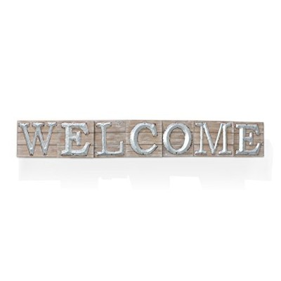 Barnyard Designs Largeビンテージ木製Welcome Sign with亜鉛メッキメタルレタリング|プリミティブ国ホーム装飾、Built Inブラケットfor Hanging...