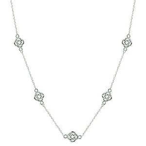 lovveスターリングシルバーフラワーLove Knot Station Polishedチェーンネックレス