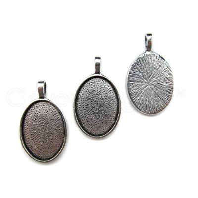 20 CleverDelights Oval Pendant Trays - Antique Silver Color - 18 x 25 mm - Pendant Blanks Cameo...