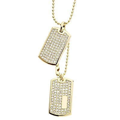 Iced Out Bling Ball Chain Dog Tag ペンダント - ゴールド