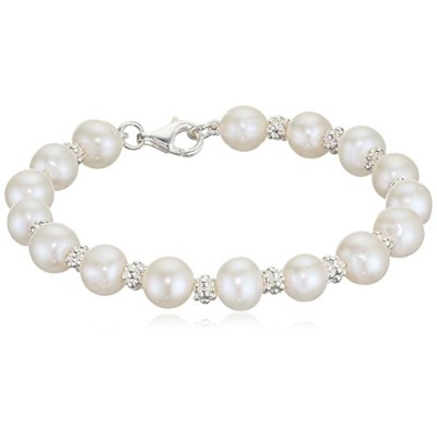 ブレスレットElements Silver B3701W Ladies' Pearl Sterling Silver Bracelet with Textured Beads Length of...