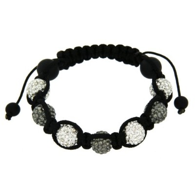ブレスレットBlack Shamballa Black Cord with White and Grey Crystals Balls and Black Beads Adjustable Bracelet of 7.13cm/3[平行輸入品]