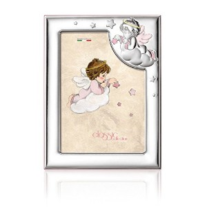 Silver Touch USA Sterling Silver Picture Frame, Angel, Pink, 3.5 X 5 by Silver Touch USA