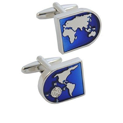 COLLAR AND CUFFS LONDON - Classic HIGH QUALITY World Map Executive Cufflinks - Brass - Blue and...