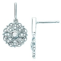 14 Kホワイトゴールド1 / 3 CTW。Diamond Dangle Earrings ( I Color , i1クラリティ)