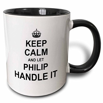 3dローズInspirationzStore名前デザイン – Keep Calm and Let PhilipハンドルIt – Funny個人名 – マグカップ 11-oz Two-Tone...