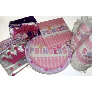 Princess Party Supplies or Bridal Shower - Plates, Napkins, Silverware, Cups & Goodie Bags by Blue...