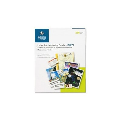 Business Source BSN20871 Laminating Pouches, Ltr, 1.5Mil, 9 in. x 11.5 in., 250-BX, Clear by...
