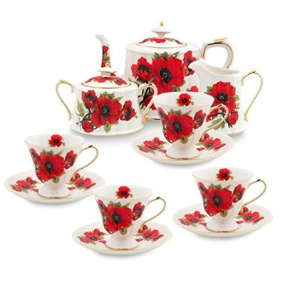 Grace茶道具11-piece Porcelain Teaセット TS-FD299/11