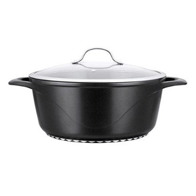 Corvex 10-quartセラミックとチタンNonstick Dishwasher Safe Stock Pot with Glass Lid – ブラック