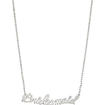 Betsey Johnson Womens Blue by Betsey Johnsonシルバートーン繊細ネックレスチェーンと' Bridesmaid ' Pendant with...