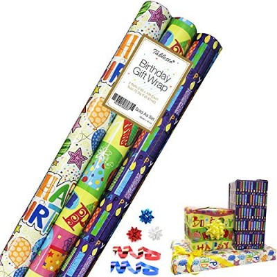 Birthday Gift Wrap in 3 Bright Styles 30 in x 12 ft in Each Roll, 3 Rolls- Tablesto by Clikoo