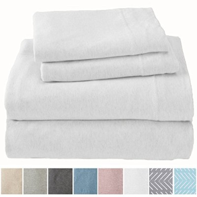 (King, Winter White) - Extra Soft Heather Jersey Knit (T-Shirt) Cotton Sheet Set. Soft, Comfortable...