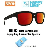 2018新作 ■ SPY OPTICS スパイ 【 HELM2 ヘルム2 】 HAPPY LENS 【 Soft Matte Black - Happy Gray Green w/Red...