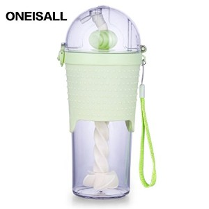 ONEISALL GYBL228 500ML赤ちゃん用子供用ストローマグボトル通園幼稚園通勤ボトル水筒マグ (緑)