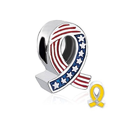 queencharms PatriotビーズTwo Sided US ArmyイエローリボンとUSA National Flagチャームのブレスレット