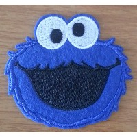 Cookie Monster Iron on Patch Fabric Applique Motif Sesame Street Decal by Thanwa