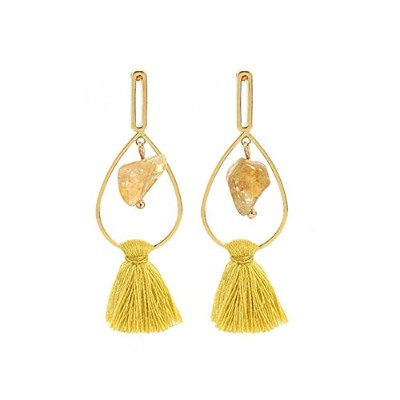 Sophie Landイエロータッセルwith Natural Stone Long Dangle Earrings