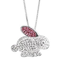 Crystaluxe Bunny Rabbitペンダントネックレスwith Swarovski Crystals inスターリングシルバー
