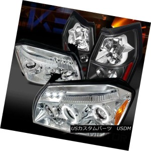 テールライト 05-07 Dodge Magnum Chrome Halo LED Projector Headlights+Black Tail Brake Lamps 05-07 Dodge...