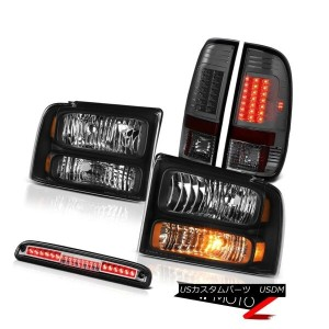 テールライト 05-07 F350 6.8L Black Headlights L.E.D Tail Lights Smoke Chrome Third Brake LED 05-07 F350 6...