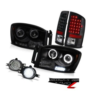 テールライト Black Smoke Angel Eye Headlight LED Tail Lamp Bumper Foglight Ram 5.9L SLT 07 08 ブラックスモークエンジェ...