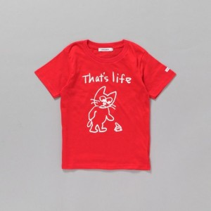 SALE【ギルドプライム(GUILD PRIME)】 【SANDER STUDIOxGUILD PRIME】KIDS CAT THAT'S LIFEキッズTシャツ レッド