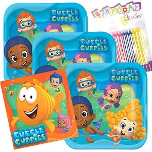 Bubble Guppies Party Plates and Napkins serves 16with誕生日キャンドル
