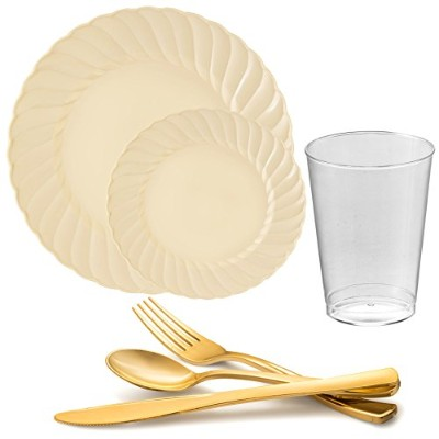 Kayaコレクション–Flaired使い捨てプラスチック食器類Party Package–Includes Dinner Plates、サラダデザートプレート、カトラリー、Tumblers...