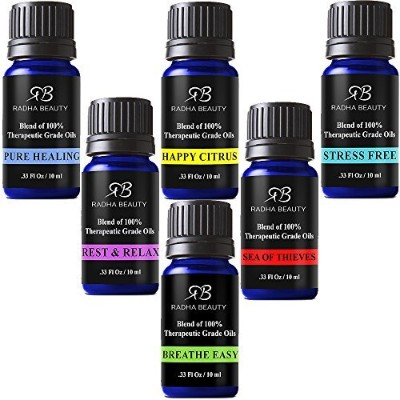 Radha Beauty Essential Oil Blend Gift Set - 100% Pure Therapeutic Grade Aromatherapy kit Sea of Thieves, Stress Free, Rest & Relax, Breathe Easy, Pure Healing, Happy Citrus - 6/10 ml