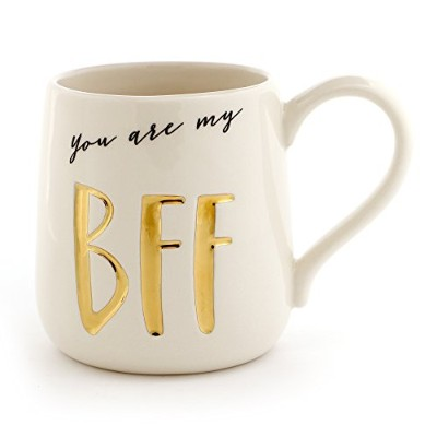 Enesco Our Name Is Mud「BFF」Stoneware Engravedコーヒーマグ 16 oz ゴールド 6000523