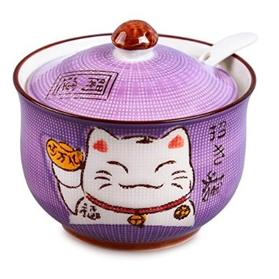 Ceramics Japanese Maneki Neko Lucky Cat Sugar Salt PepperストレージJar蓋、スプーン free パープル