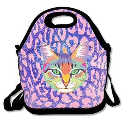 Cool Cat with aゴールドクラウンNeoprene Lunch Bag–Lunch Toteの女性、子供、大人