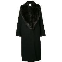 Manzoni 24 oversized fur collar coat - ブラック