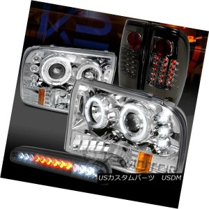 テールライト 99-04 F250 SD Chrome Halo Projector Headlights+Smoke Tail LED 3rd Brake Lamps 99-04 F250...
