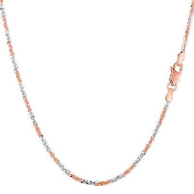 """14k 2 Tone Rose & White Gold Sparkle Chain Necklace, 1.5mm, 18"""""""