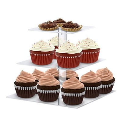 Utenlid Acrylic 3-Tier Square Stacked Party Cupcake Stand with Stable Screw-On Pillars - Tiered...