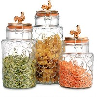 Country Kitchen Rooster容器のセット3つ( 3)ラウンドクリアガラスHermetic Sealed Airtight withロッククランプ~キッチンJars Set...