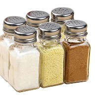 7tech 6正方形ガラスSpice Bottles withシルバーメタルカバー& Perforated Spice Bottles