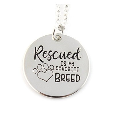 Whimsical–Rescuedは私のお気に入りbreed-シルバートーンコインペンダントネックレス–Animal Lover–犬–子犬–Holidayギフト–...