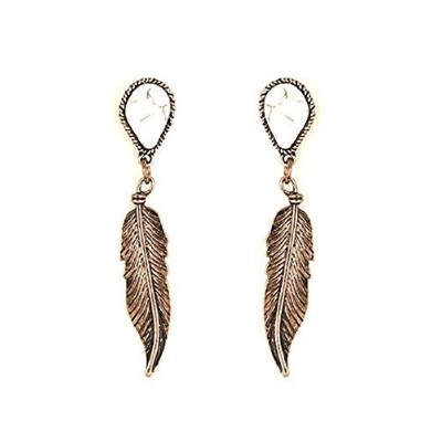 銅Feather Gemstone Dangle Earrings